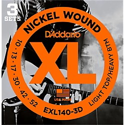 D'Addario EXL140 Light Top/Heavy Bottom Electric Guitar Strings 3-Pack (EXL140-3D)