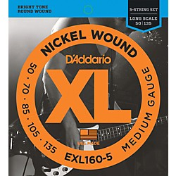D'Addario EXL160-5 XL 5-String Bass Regular/Long String Set (EXL160-5)