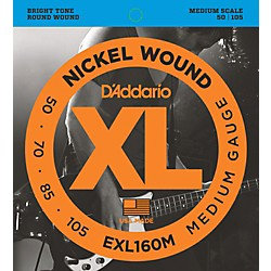 D'Addario EXL160M XL Medium Bass String Set (EXL160M)