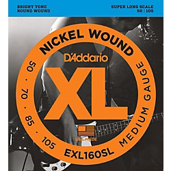 D'Addario EXL160SL Medium Nickel Wound Super Long Scale Bass Strings (EXL160SL)