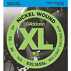 D'Addario EXL165SL Regular Light Top/Medium Bottom Nickel Wound Super Long Scale Bass Strings (EXL165SL)