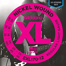 D'Addario EXL170-12 XL Light Long Scale 12-String Nickel Electric Bass Strings (EXL170-12)