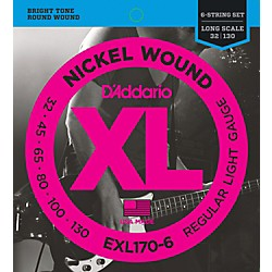 D'Addario EXL170-6 Nickel Round Wound 6 String Long Bass Strings (EXL170-6)