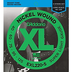 D'Addario EXL220-5 XL 5-String Bass Super Soft/Long String Set (EXL220-5)