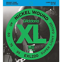 D'Addario EXL220 XL Nickel Round Wound Super Light Bright Electric Bass Strings (EXL220)