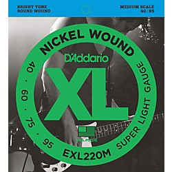 D'Addario EXL220M XL Bass Super Soft/Medium Scale Bass Strings (EXL220M)