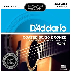 D'Addario EXP11 Coated 80/20 Bronze Light Acoustic Guitar Strings (EXP11)