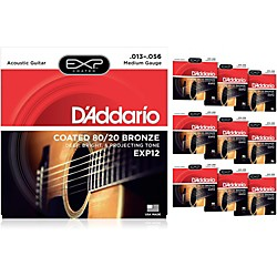 D'Addario EXP12 Coated 80/20 Bronze Medium Acoustic Guitar Strings - 10 Pack (10 KIT - EXP12OLD)