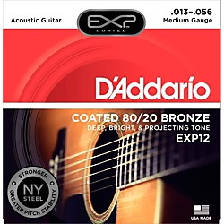 D'Addario EXP12 Coated 80/20 Bronze Medium Acoustic Guitar Strings (EXP12)