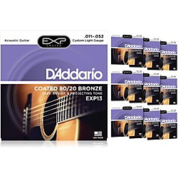 D'Addario EXP13 Coated 80/20 Bronze Custom Light Acoustic Guitar Strings - 10 Pack (10 KIT - EXP13OLD)