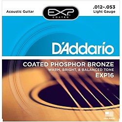 D'Addario EXP16 Coated Phosphor Bronze Light Acoustic Guitar Strings (EXP16)