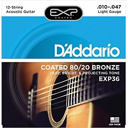 D'Addario EXP36 Coated 80/20 Bronze Light 12-String Acoustic Guitar Strings (EXP36)