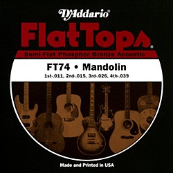 D'Addario FT74 Flat Tops Phosphor Bronze Mandolin Strings Medium (FT74)