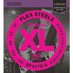 D'Addario Flexsteels Long Scale 5-String Bass Guitar Strings (45-130) (EFX170-5)