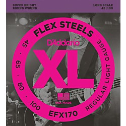 D'Addario Flexsteels Long Scale Bass Guitar Strings (45-100) (EFX170)
