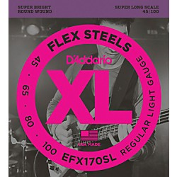 D'Addario Flexsteels Super Long Scale Bass Guitar Strings (45-100) (EFX170SL)