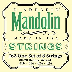 D'Addario J62 80/20 Phosphor Bronze Mandolin Strings (J62)