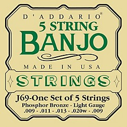 D'Addario J69 5-String Banjo PB Light Loop Strings (J69)