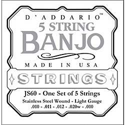 D'Addario JS60 Stainless Steel Light Banjo Strings (JS60)