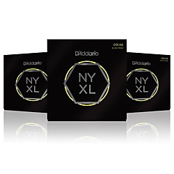 D'Addario NYXL Nickel Wound Super Light Top / Regular Bottom Electric Guitar Strings (9-46) 3-Pack (NYXL0946-3P)