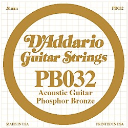 D'Addario PB032 Phosphor Bronze Single Acoustic Guitar String (PB032)