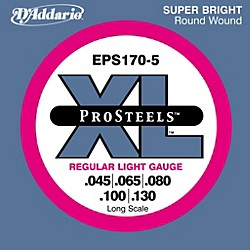 D'Addario ProSteels EPS170-5 Regular Light 5-String Bass Strings (EPS170-5)