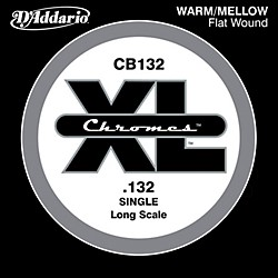 "D'Addario XL Chromes CB132 Single Flat Wound .132"" Long Scale Bass String (CB132)"