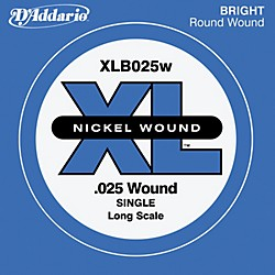 D'Addario XLB025W XL Nickel Wound Long Scale .025 Electric Bass String (XLB025W)