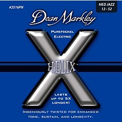 DEAN MARKLEY Helix Pure Nickel Medium Jazz Electric Guitar Strings (12-52) (2516PN)