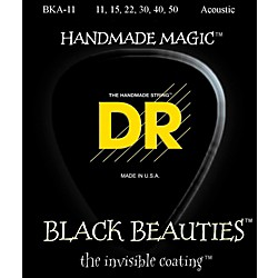 DR Strings Black Beauties Light Acoustic Guitar Strings (BKA-11)