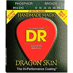 DR Strings Dragon Skin 2 Pack: Clear Coated Acoustic Phosphor Bronze Medium (12-54) (DSA-2/12)