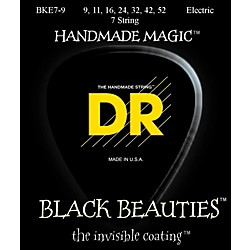 DR Strings Extra Life BKE7-9 Black Beauties Coated Light Electric Guitar Strings - 7 String Set (BKE7-9)