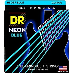DR Strings Hi-Def NEON Blue Coated Light (9-42) Electric Guitar Strings (NBE-9)