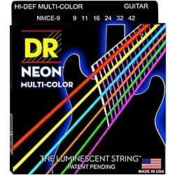 DR Strings Hi-Def NEON Multi-Color Coated Lite Electric Guitar Strings (NMCE-9)
