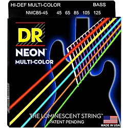 DR Strings Hi-Def NEON Multi-Color Coated Medium 5-String Bass Strings (MCB5-45)