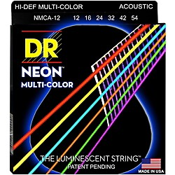 DR Strings Hi-Def NEON Multi-Color Coated Medium Acoustic Guitar Strings (MCA-12)