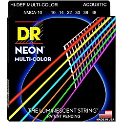 DR Strings Hi-Def NEON Multi-Color Coated Medium Acoustic Guitar Strings (MCA-10)