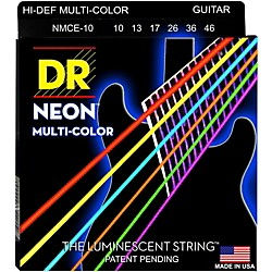 DR Strings Hi-Def NEON Multi-Color Coated Medium Electric Guitar Strings (MCE-10)