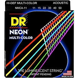DR Strings Hi-Def NEON Multi-Color Coated Medium-Lite Acoustic Guitar Strings (NMCA-11)