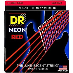 DR Strings Hi-Def NEON Red Coated Medium (10-46) Electric Guitar Strings (NRE-10)