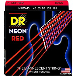 DR Strings Hi-Def NEON Red Coated Medium 5-String (45-125) Bass Guitar Strings (NRB5-45)