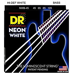 DR Strings Hi-Def NEON White Coated Medium 5-String Bass Strings (NWB5-45)