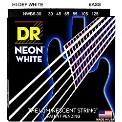 DR Strings Hi-Def NEON White Coated Medium 6-String Bass Strings (NWB6-30)