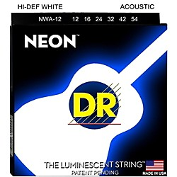 DR Strings K3 NEON Hi-Def White Acoustic Medium Guitar Strings (NWA-12)