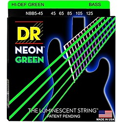 DR Strings NEON Hi-Def Green Bass SuperStrings Medium 5-String (NGB5-45)