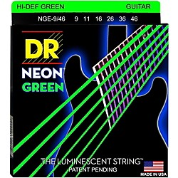 DR Strings NEON Hi-Def Green SuperStrings Light Top Heavy Bottom Electric Guitar Strings (NGE-9/46)