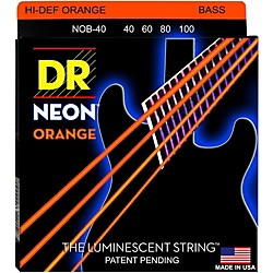 DR Strings NEON Hi-Def Orange Bass SuperStrings Light 4-String (NOB-40)