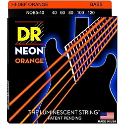 DR Strings NEON Hi-Def Orange Bass SuperStrings Light 5-String (NOB5-40)