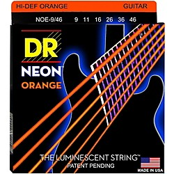 DR Strings NEON Hi-Def Orange SuperStrings Light Top Heavy Bottom Electric Guitar Strings (NOE-9/46)
