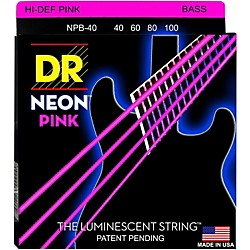 DR Strings NEON Hi-Def Pink Bass SuperStrings Light 4 String (NPB-40)
